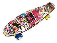 Скейт Profi Penny Board LED MS0748-3 Print