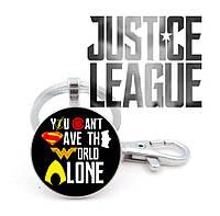 Кулон с изображением слогана You can't save the world alone Justice League Лига Справедливости