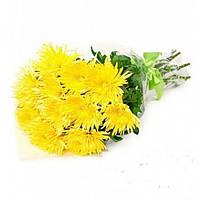 Хризантема одноголовая 9 шт желтая в букете