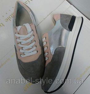 Кросівки з натуральної шкіри та замші об'єднані сірий+пудра+срібло Код 1448, фото 2