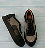 Кроссовки из натуральной кожи черного цвета со светлыми вставками из натуральной замши Код 1452