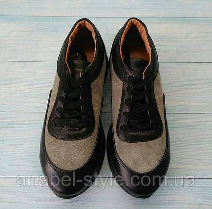 Кроссовки из натуральной кожи черного цвета со светлыми вставками из натуральной замши Код 1452, фото 2