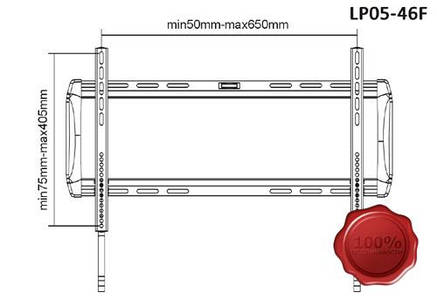 Фиксированное настенное крепление (кронштейн) для телевизора Brateck LEDLP05-46FB по супер цене!, фото 2