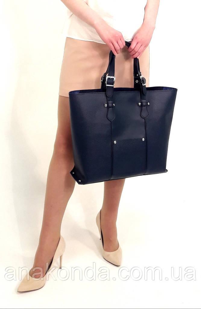 03 Натуральная кожа, Большая сумка женская, синий с тиснением, на молнии