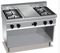 Газовая плита GGM GHGB179H + GB4 + жарочная поверхность с 4-мя горелками (28 кВт) + духовой шкаф (4 кВт)