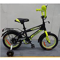 Велосипед детский PROF1 14д. G1451 (1шт) Inspirer,черно-салат(мат),звонок,доп.колеса (код 220-442593)