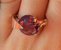 Кольцо серебряное с золотыми накладками Премьера 2 с турмалином