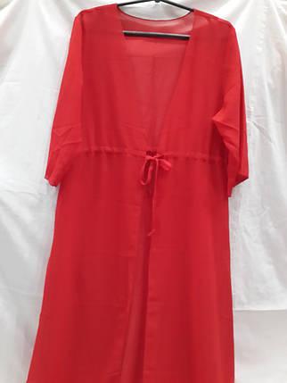 Халат пляжный 1701 красный  на наши 46-52 размеры., фото 2