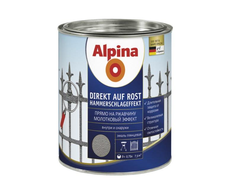 Эмаль-грунт алкидная ALPINA DIREKT AUF ROST HAMMERSCHLAGEFFEKT с молотковым эффектом, антрацит, 0.75л