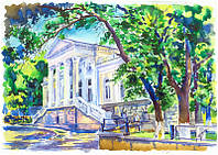 Херсон. Старая библиотека(ЗАГС).Картина, акварельная живопись.