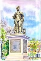 Памятник Потёмкину. Херсон. Картина, акварельная живопись.