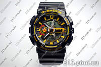 Спортивные часы с водозащитой Casio G-Shock Ga-110 Black-Yellow черные  , фото 1