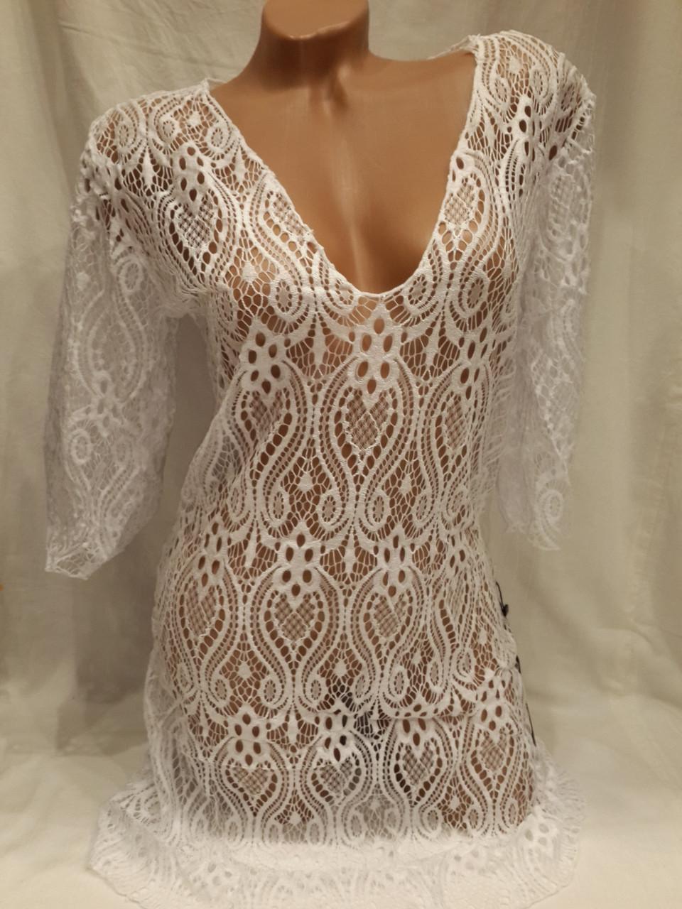 Платье-туника пляжное 025 Тиффани белая на наши 42-50 размеры.