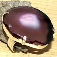 Красивое кольцо с натуральным камнем жеода агата в серебре. Размер 17. Индия