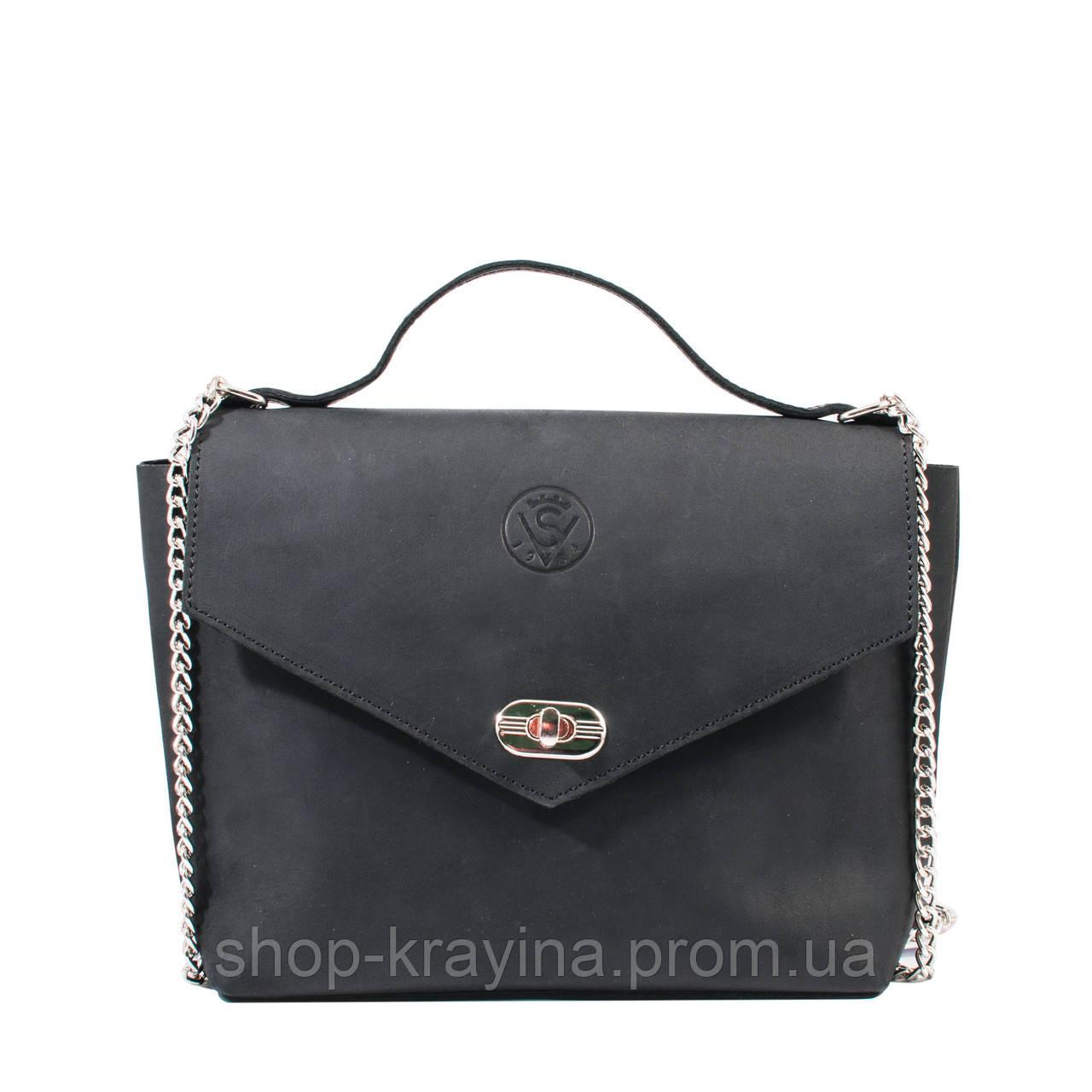 Кожаная сумка VS222  black 22х18х8 см