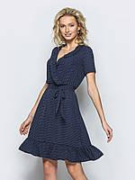 Романтическое платье с верхом на запах и оборкой по низу синее в горошек