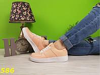 Кроссовки форсы персиковые на толстой подошве, фото 1