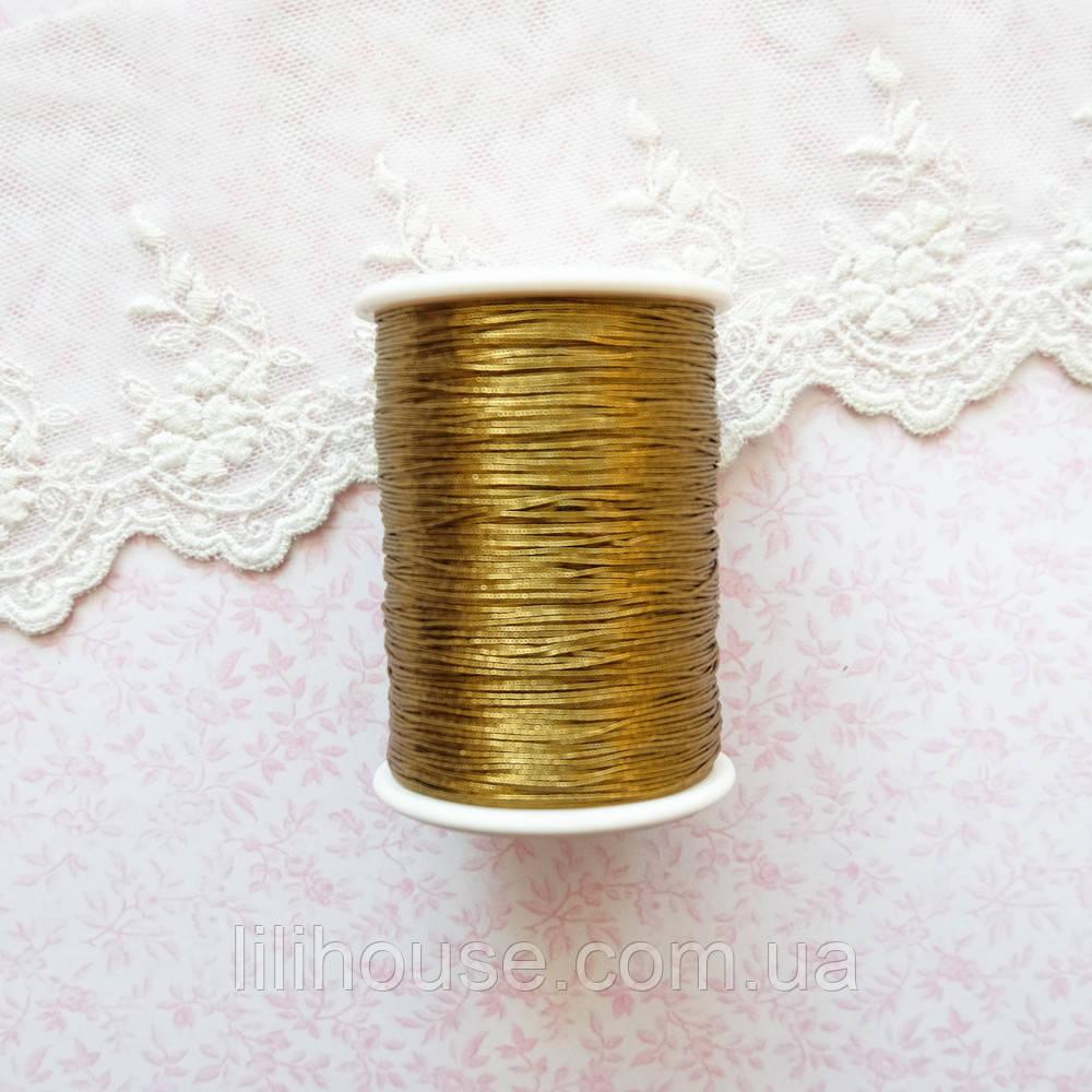 Металлизированная нить для вышивки, Индия, 0.5 мм - бронза