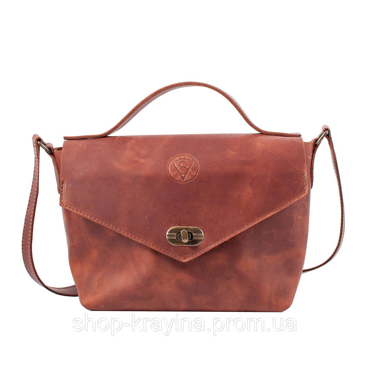 Кожаная сумка VS222 ginger 22х18х8 см