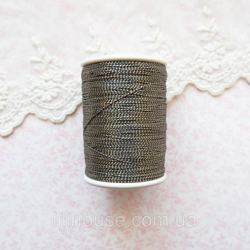 Металлизированная нить для вышивки, Индия, 0.5 мм - черная с золотом