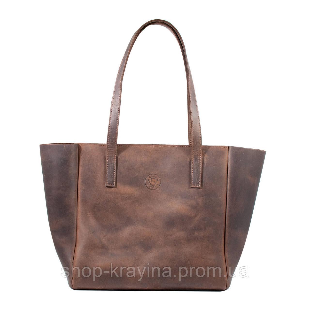 Кожаная сумка VS224 brown 36х18,5х16 см
