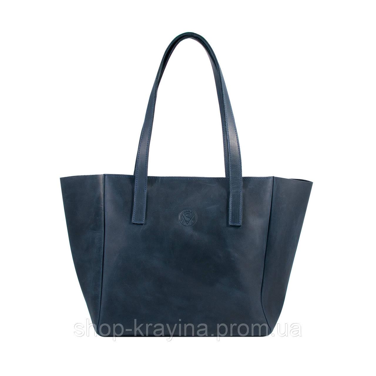 Кожаная сумка VS224 blue 36х18,5х16 см