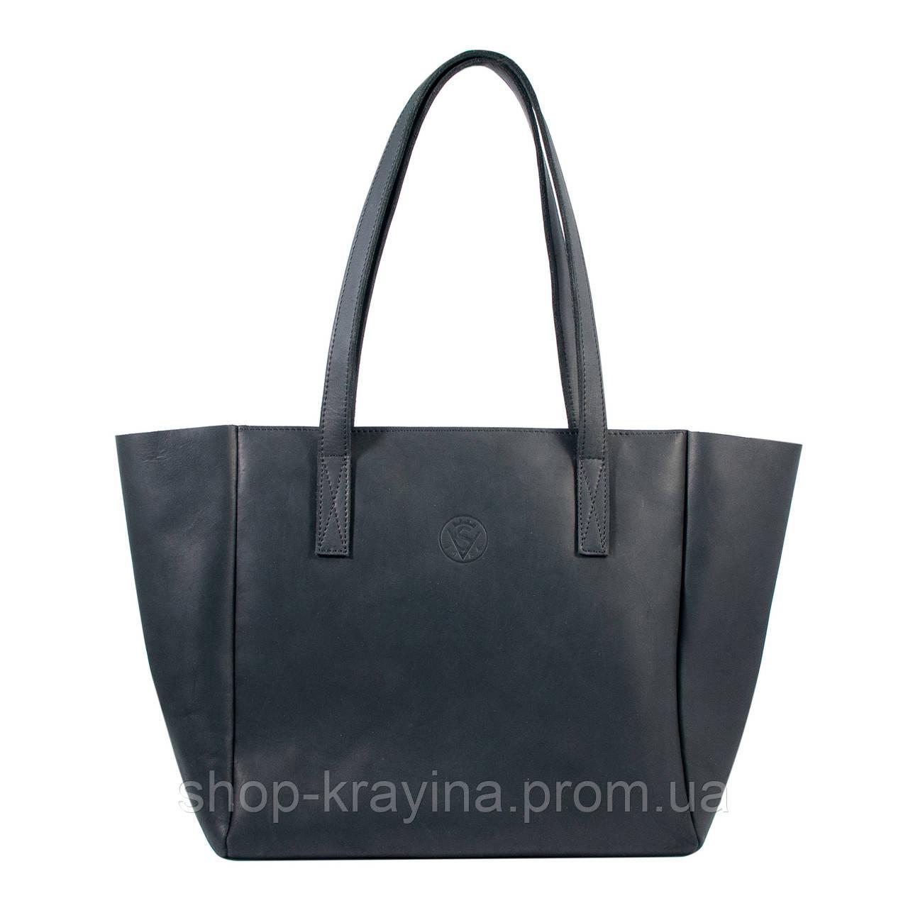 Кожаная сумка VS224 black 36х18,5х16 см