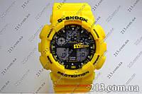 Casio GA-100A-9AE Спортивные часы противоударные водонепроницаемые  желтые, фото 1