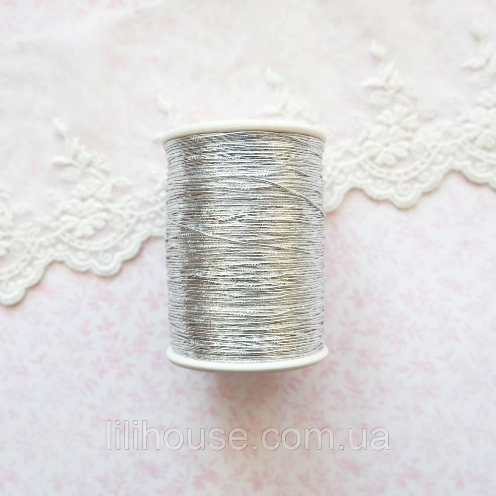 Металлизированная нить для вышивки, Индия, 0.5 мм - серебро