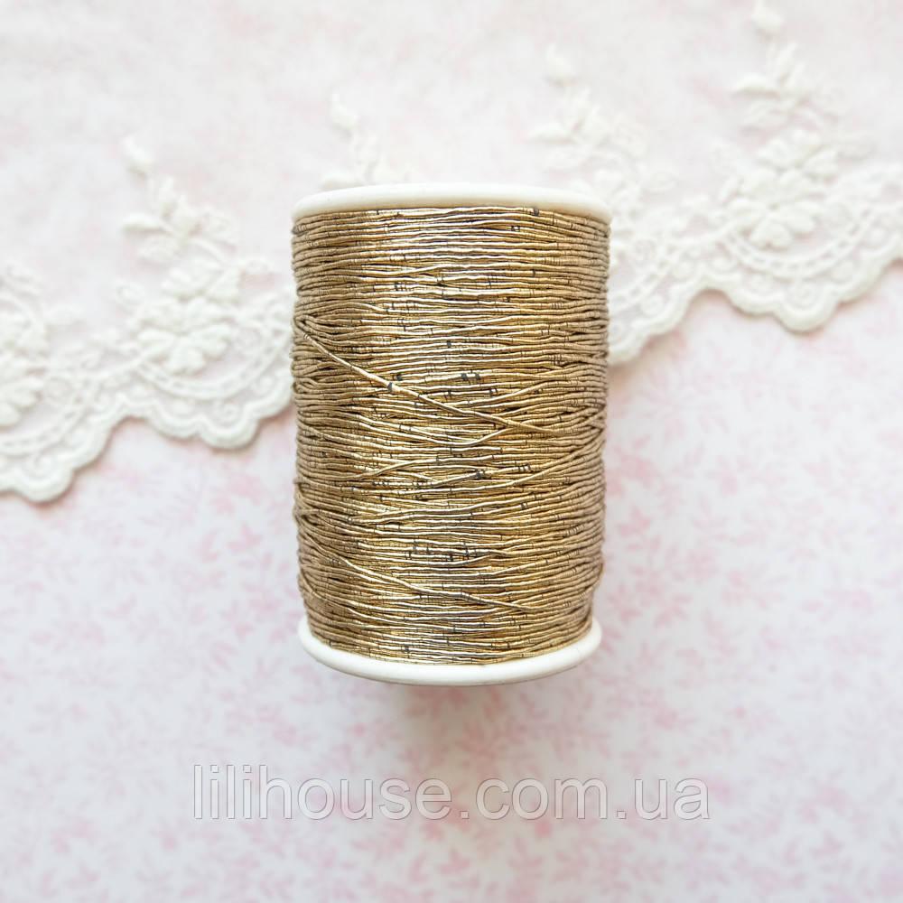 Металлизированная нить для вышивки, Индия, 0.5 мм - античное золото