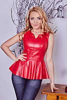 Кожаная блуза женская модельная, фото 1