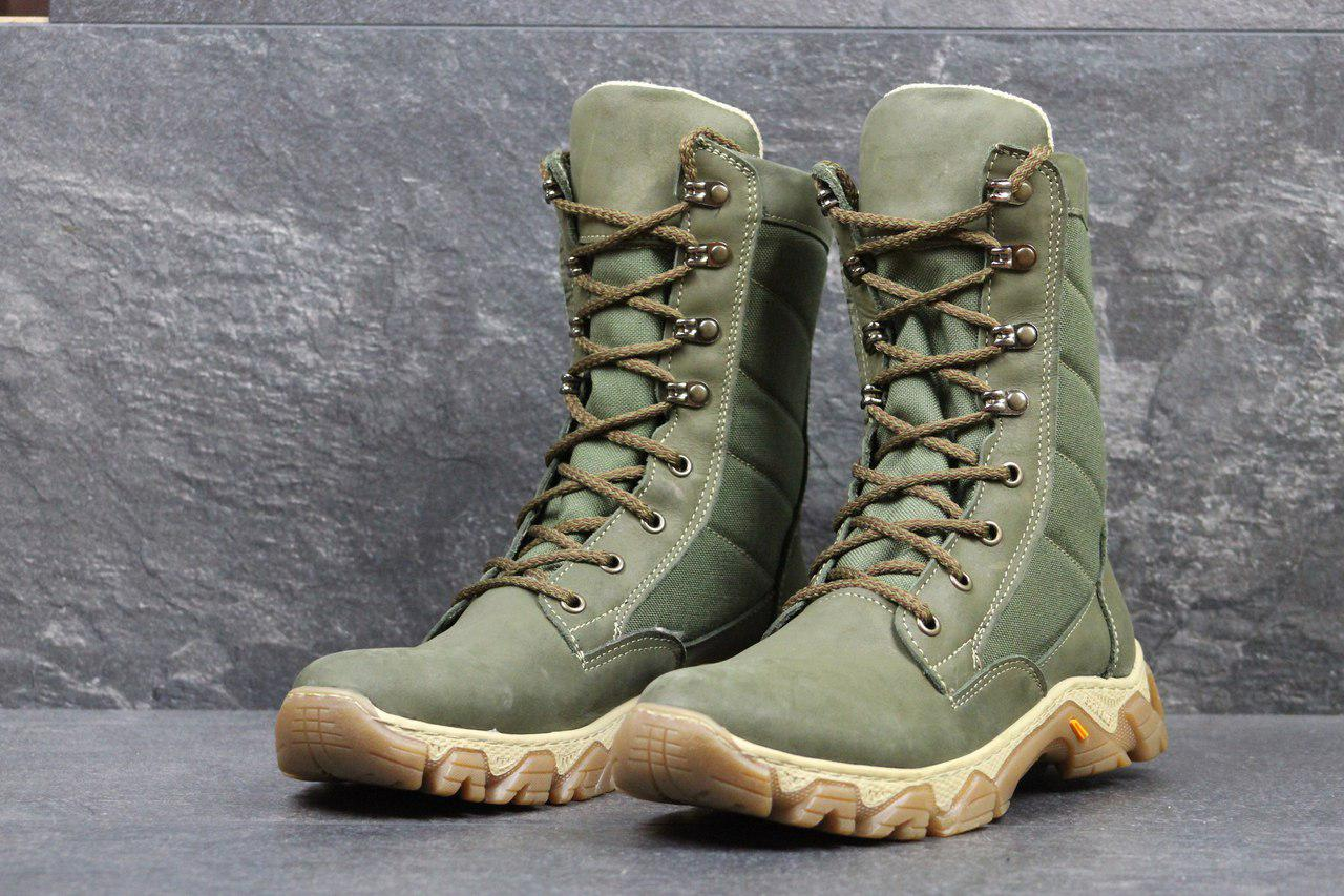 Мужские кожаные ботинки,берцы темно зеленые