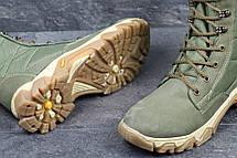 Мужские кожаные ботинки,берцы темно зеленые, фото 3