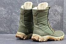 Мужские кожаные ботинки,берцы темно зеленые, фото 2