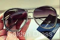 """Женские зеркальные очки """"Chanel"""" в оправе из страз Swarovski, в расцветках"""