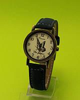 """Наручные часы в винтажном стиле на черном кожаном ремешке """"Арзон"""""""
