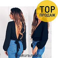 Женская черная блуза на запах / женские блузки, красивая, стильная, модная, 2018
