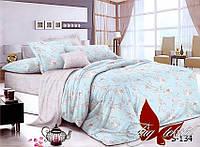 Комплект постельного белья из сатина двуспальный с компаньоном S-134