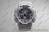 Спортивные часы противоударные водонепроницаемые Casio GA-100A-7AER White белые, фото 1