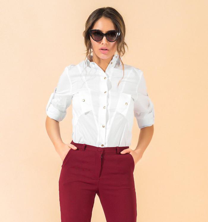 88c50b2b836 Стильная рубашка на кнопках белого цвета. Модель 17772. Размеры 42-48