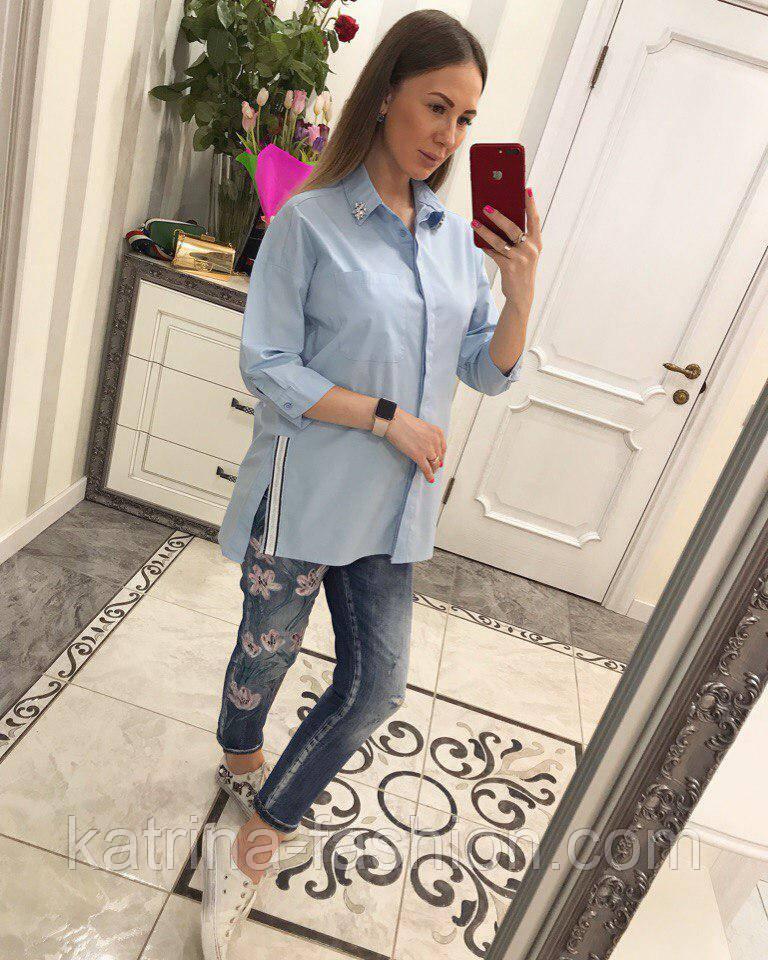 Женская стильная удлиненная блуза/рубашка (3 цвета)