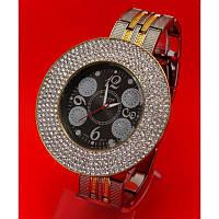 """Женские наручные часы """"Ратвилли стразы"""", ремешок серебро и золото"""