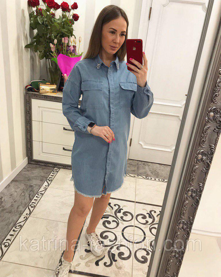 Женское стильное джинсовое прямое платье