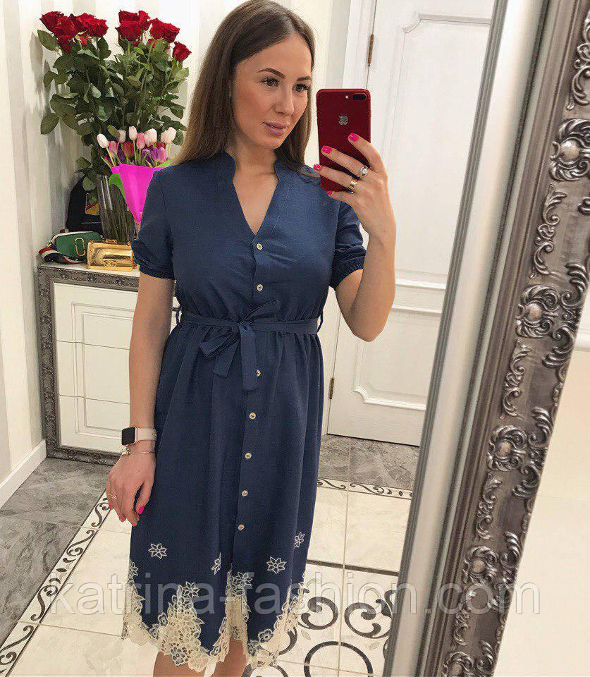Женское стильное джинсовое платье с прошвой