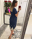 Женское стильное джинсовое платье с прошвой, фото 4