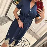 Женское стильное джинсовое платье с прошвой, фото 2