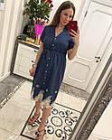 Женское стильное джинсовое платье с прошвой, фото 5