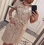 Женское стильное платье-рубашка с поясом (в расцветках), фото 4