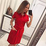 Женское стильное платье-рубашка с поясом (в расцветках), фото 6