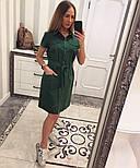 Женское стильное платье-рубашка с поясом (в расцветках), фото 9